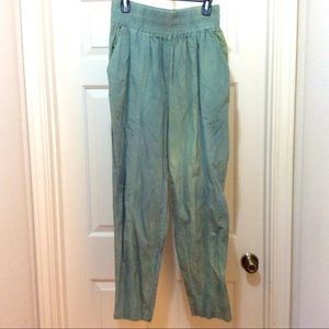 Signature 16 green tie dye look elastic waist pant